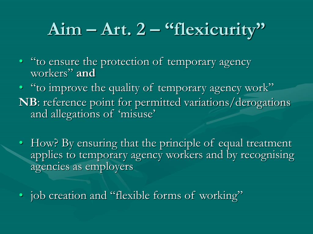 "Aim – Art. 2 – ""flexicurity"""