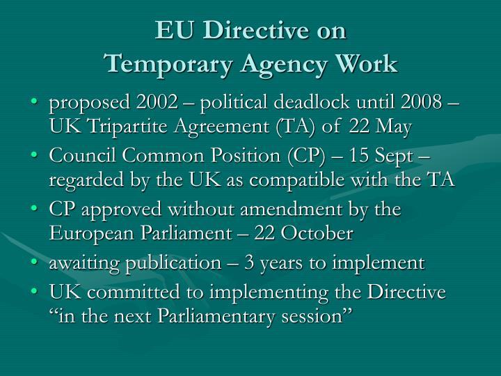 Eu directive on temporary agency work