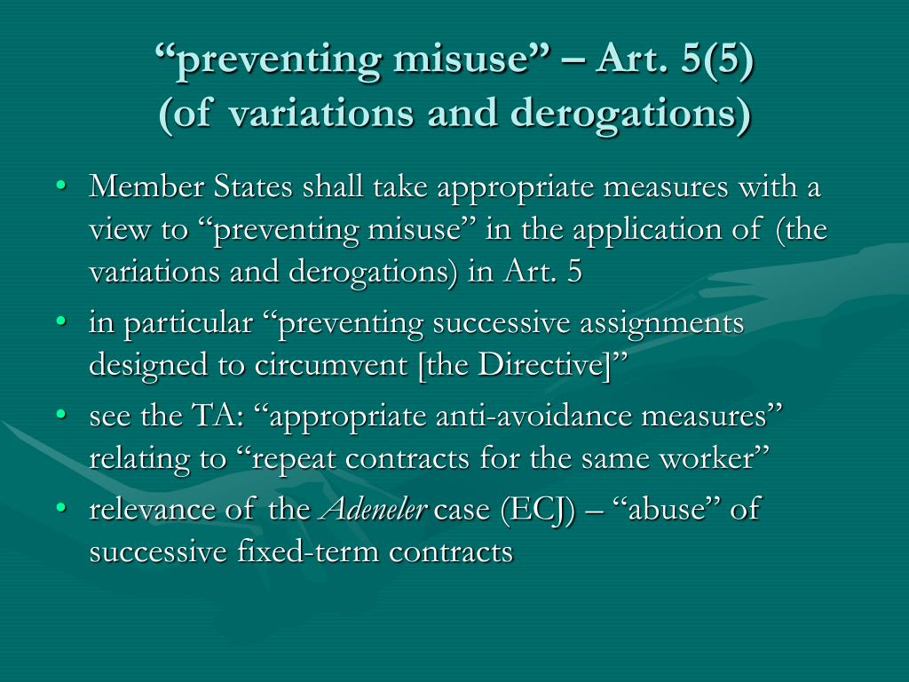 """preventing misuse"" – Art. 5(5)"