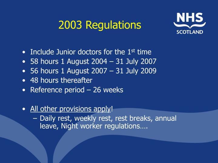 2003 Regulations