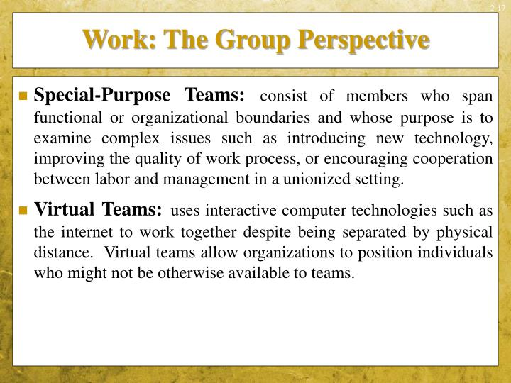 Work: The Group Perspective