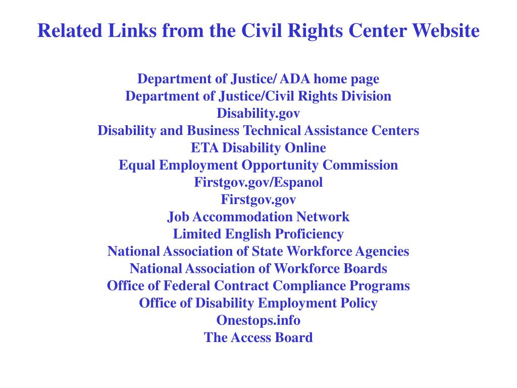 Related Links from the Civil Rights Center Website