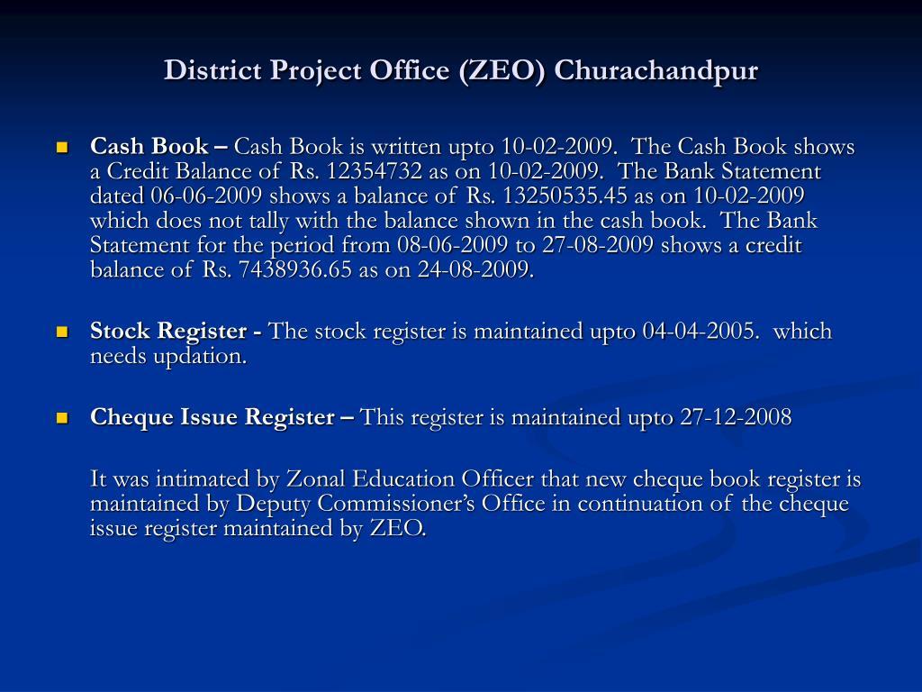 District Project Office (ZEO) Churachandpur