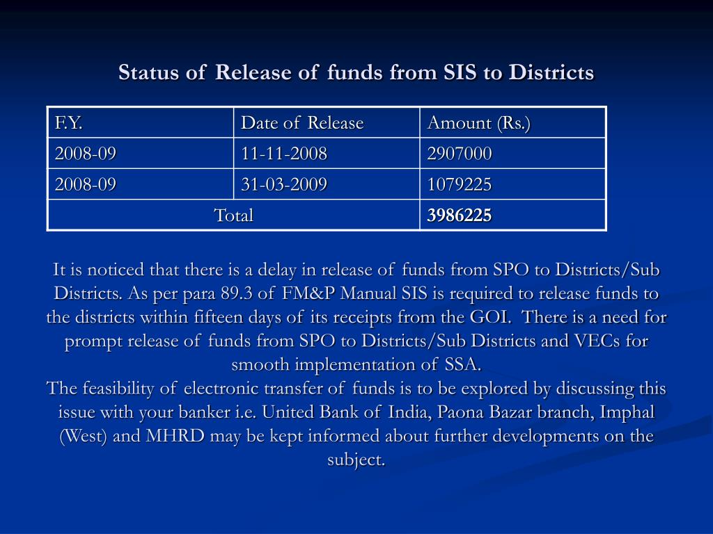 Status of Release of funds from SIS to Districts