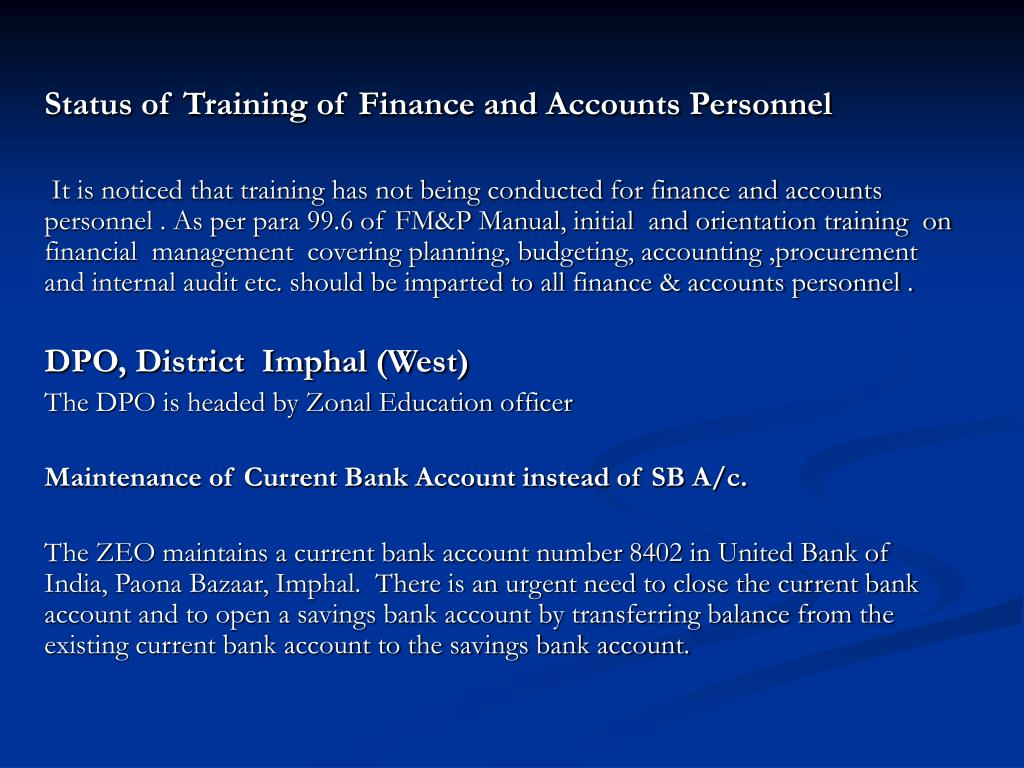 Status of Training of Finance and Accounts Personnel