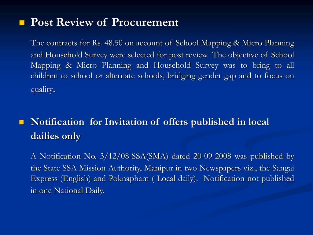 Post Review of Procurement