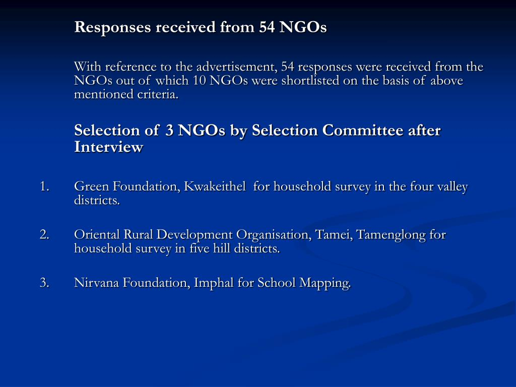 Responses received from 54 NGOs