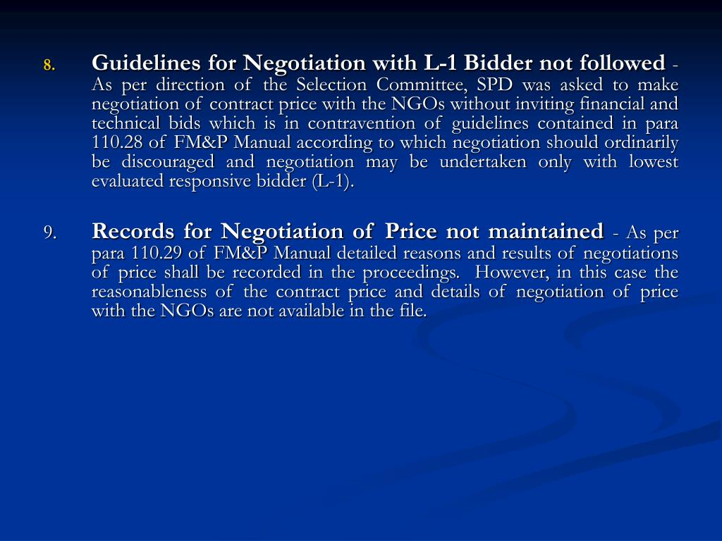 Guidelines for Negotiation with L-1 Bidder not followed