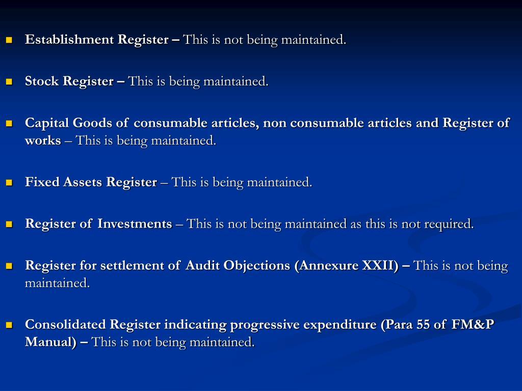 Establishment Register –