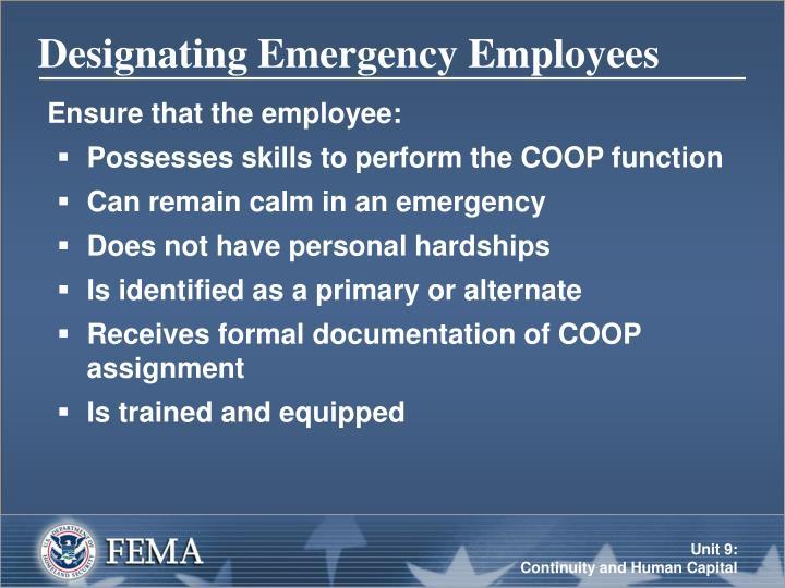 Designating Emergency Employees