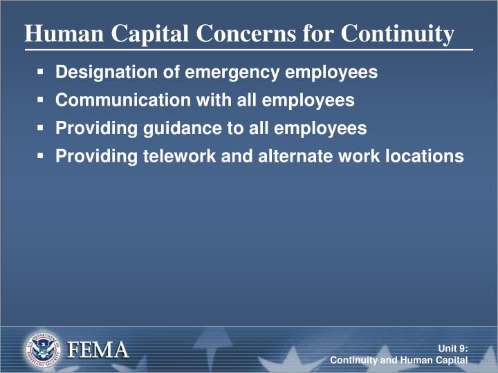 Human Capital Concerns for Continuity