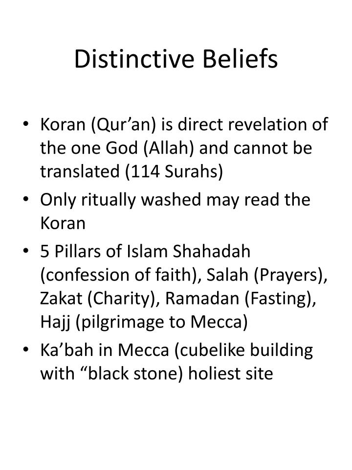 Distinctive beliefs