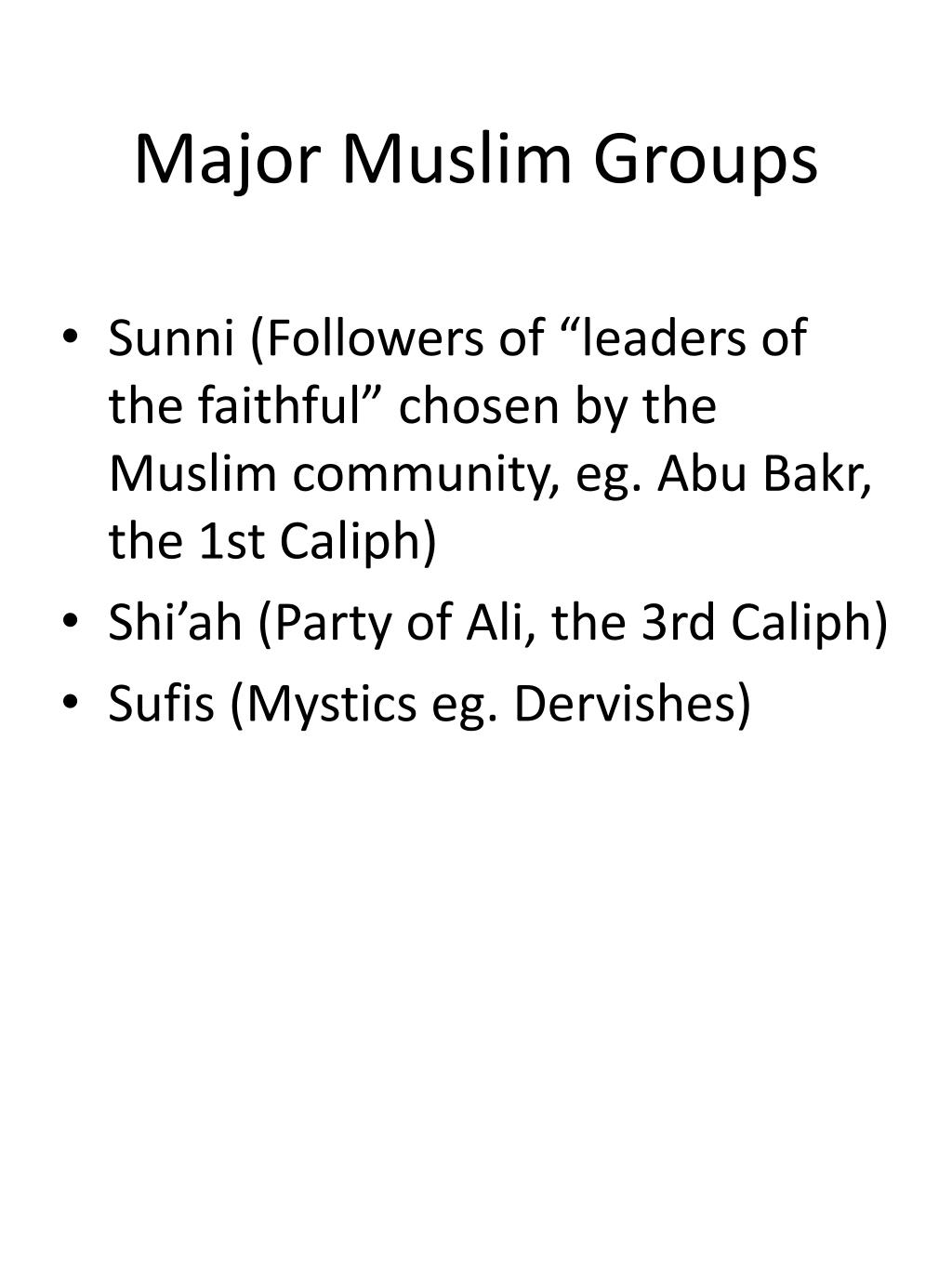 Major Muslim Groups