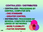 centralized distributed