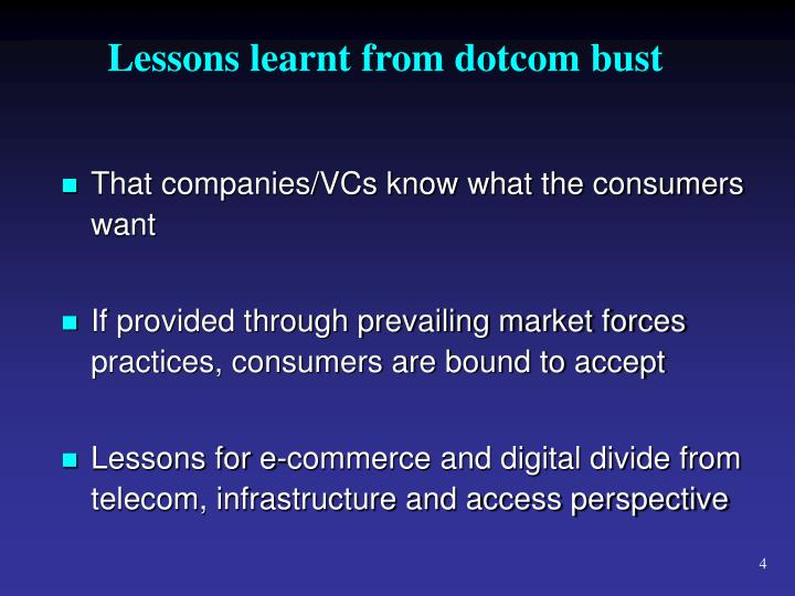 Lessons learnt from dotcom bust