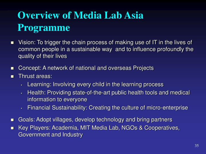 Overview of Media Lab Asia Programme