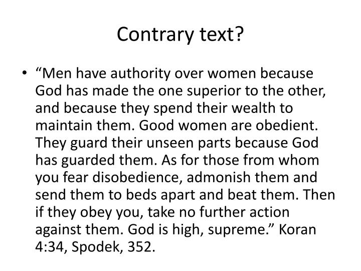 Contrary text?