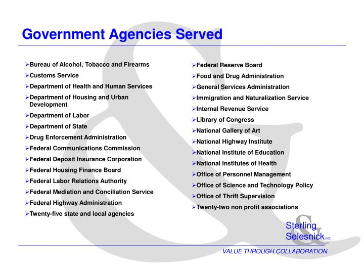 Government agencies served