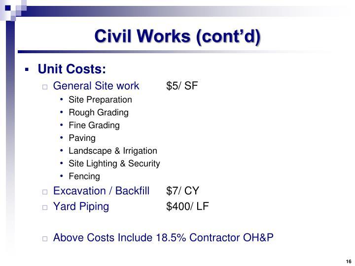 Civil Works (cont'd)
