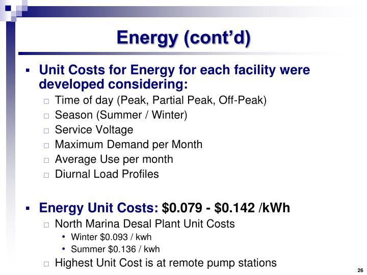 Energy (cont'd)
