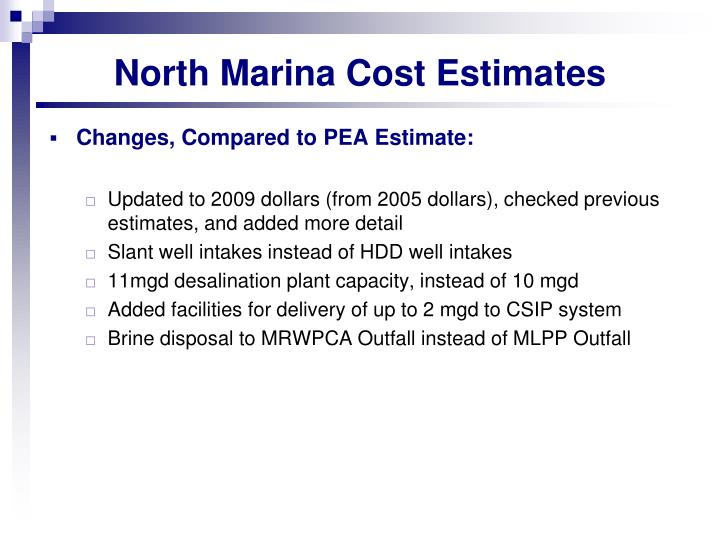 North Marina Cost Estimates