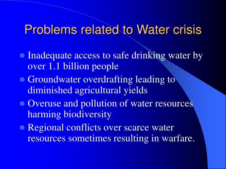 Problems related to Water crisis