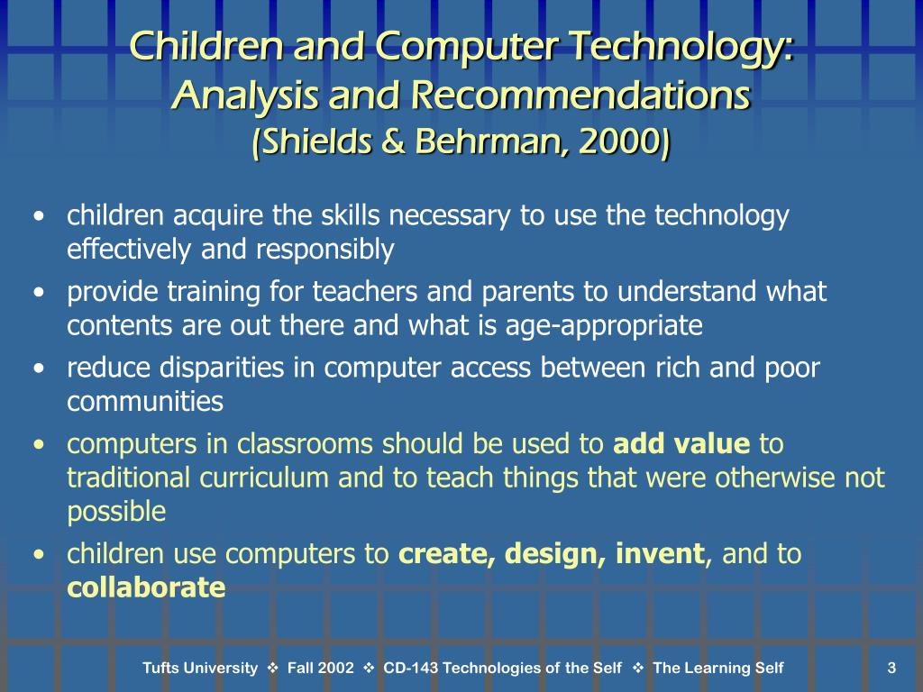 Children and Computer Technology: