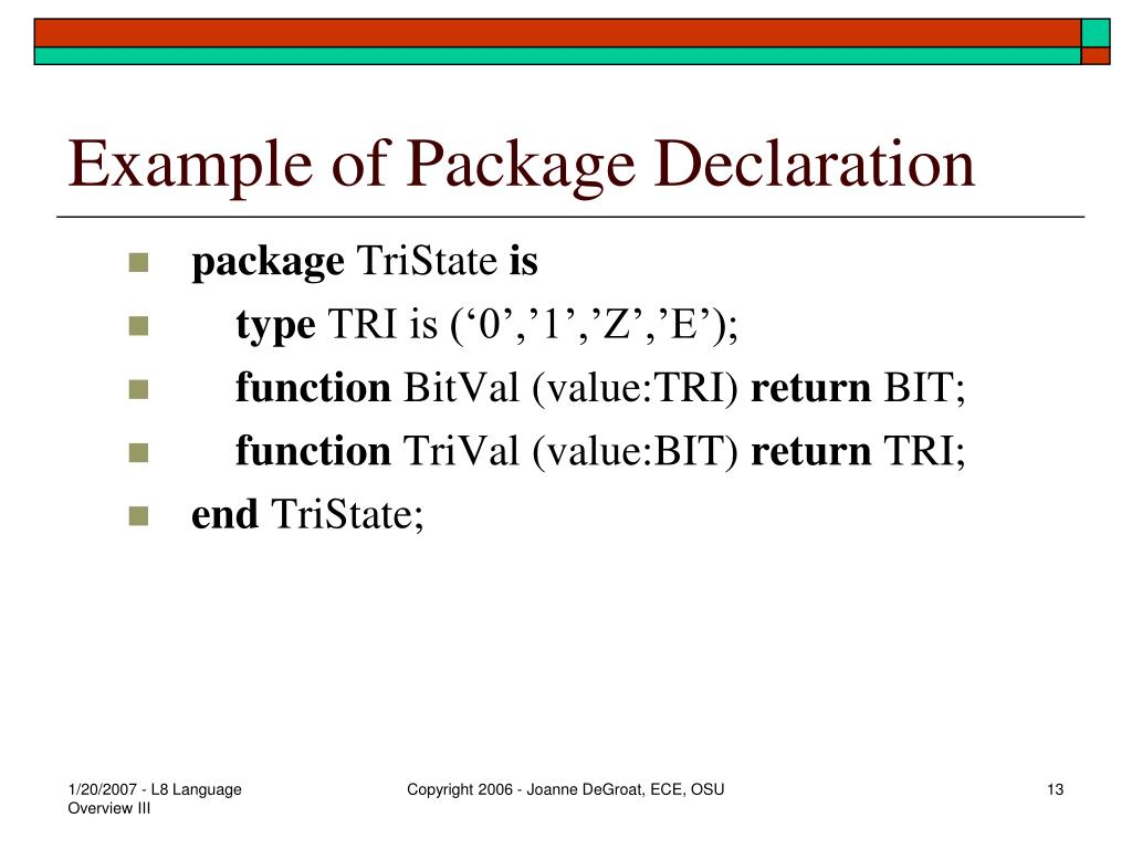 Example of Package Declaration