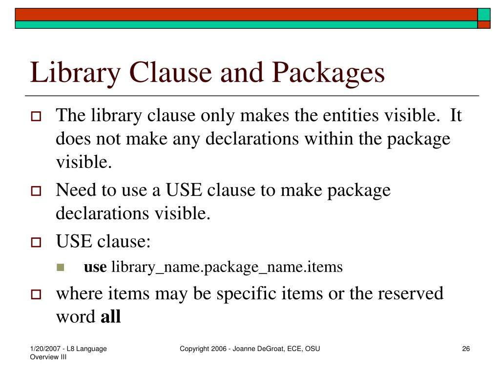 Library Clause and Packages
