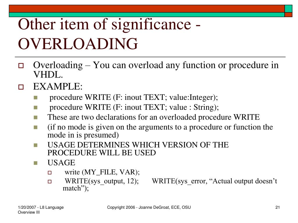 Other item of significance - OVERLOADING