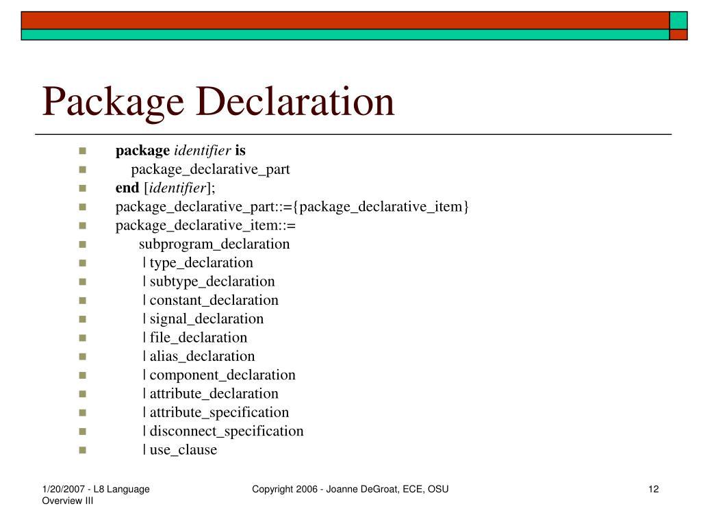 Package Declaration