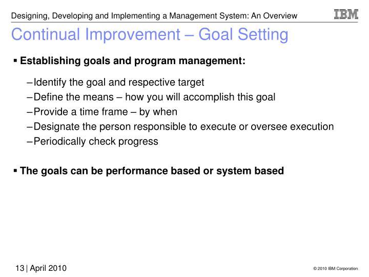 Continual Improvement – Goal Setting