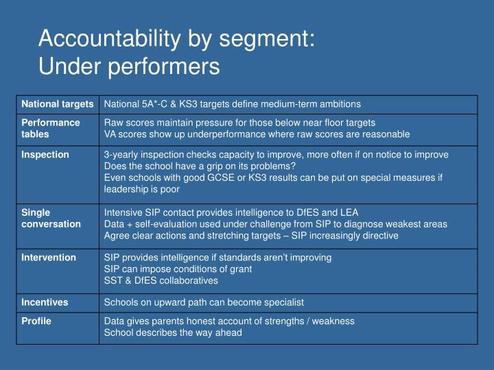 Accountability by segment: