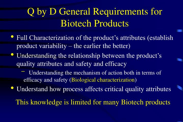 Q by D General Requirements for Biotech Products
