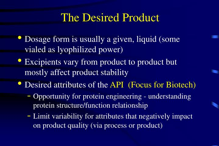 The Desired Product