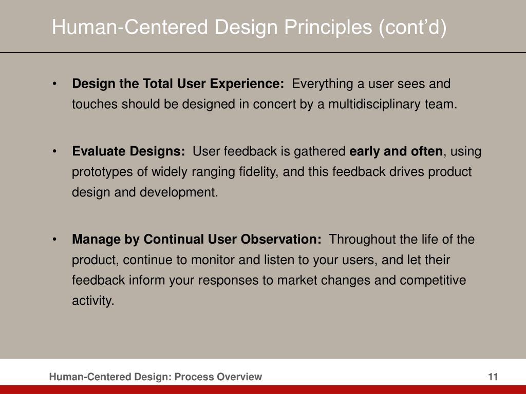 Human-Centered Design Principles (cont'd)