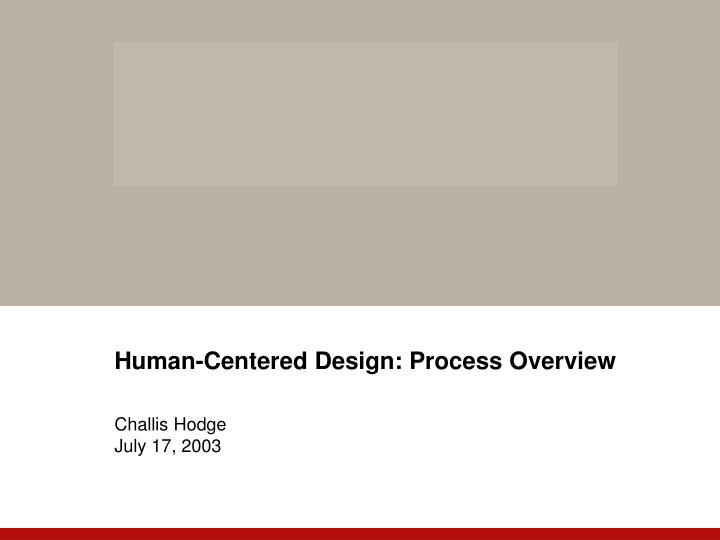 Human centered design process overview challis hodge july 17 2003