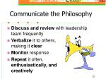 communicate the philosophy