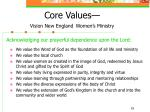 core values vision new england women s ministry