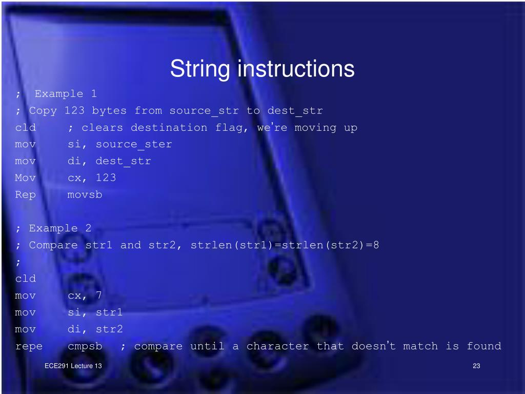 String instructions