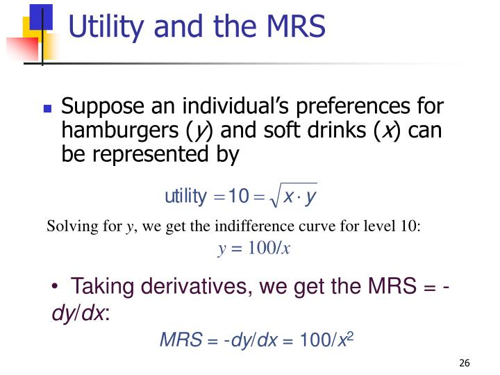 Utility and the MRS
