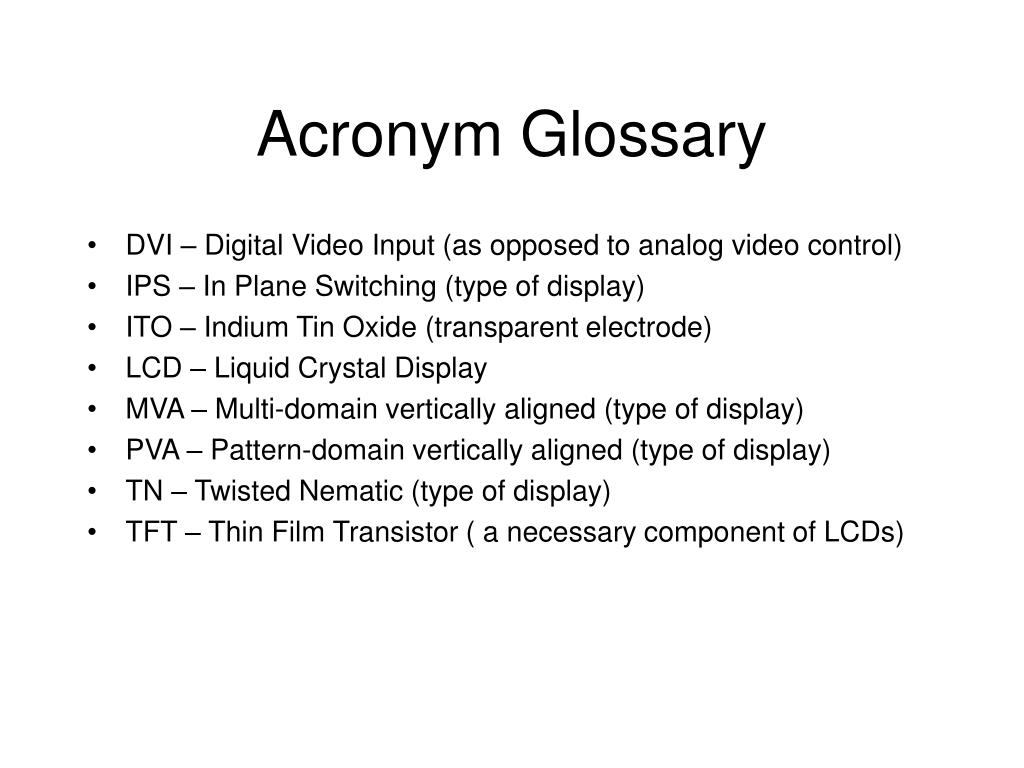 Acronym Glossary