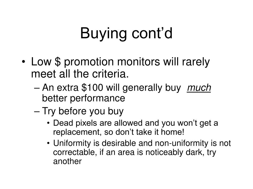 Buying cont'd