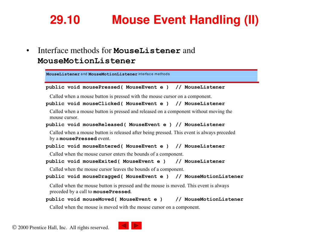 29.10 	Mouse Event Handling (II)