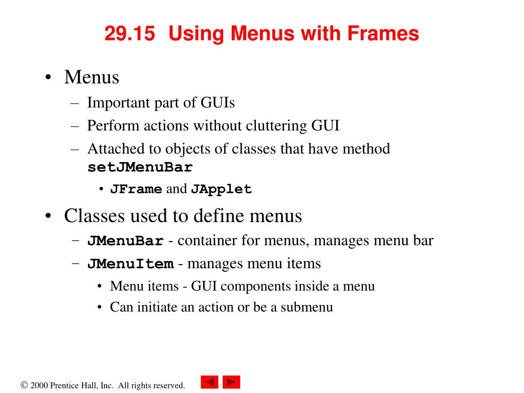 29.15	  Using Menus with Frames