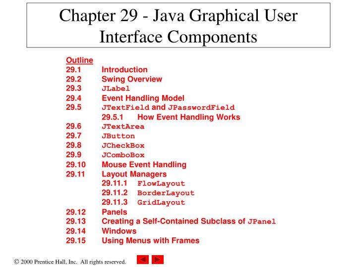 Chapter 29 java graphical user interface components