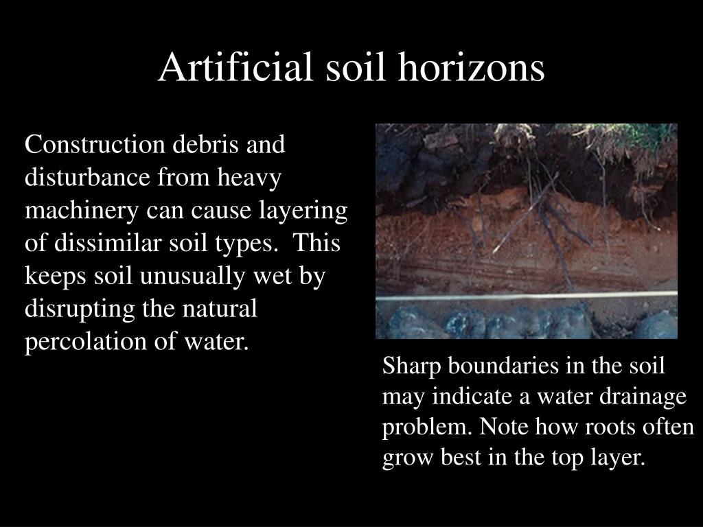 Artificial soil horizons