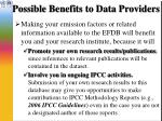 possible benefits to data providers