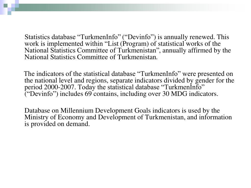 "Statistics database ""TurkmenInfo"""