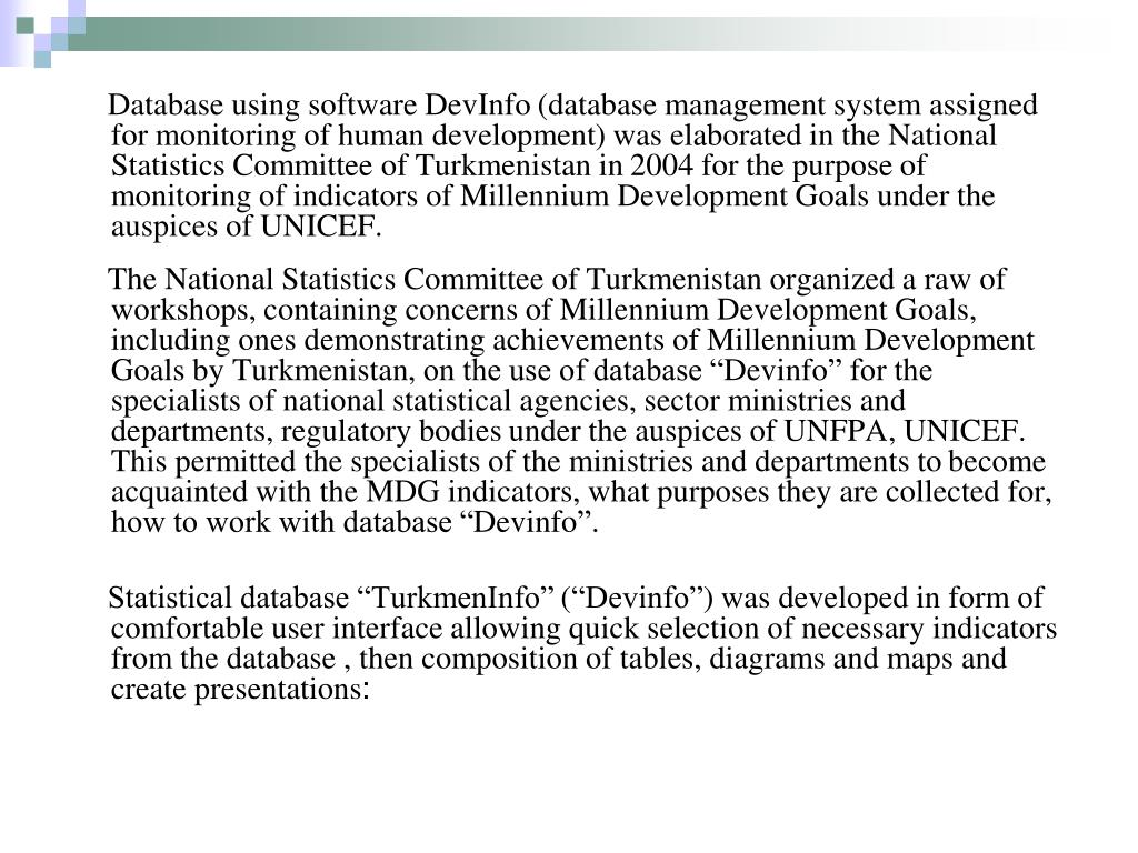 Database using software DevInfo